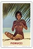 フィオルッチ - ビーチでヌード少女 - ビンテージな広告ポスター c.1970s - アートポスター - 31cm x 46cm