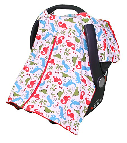carrier cover with peekaboo opening for infant carseat by kids n 39 such dinosaur print with red. Black Bedroom Furniture Sets. Home Design Ideas