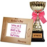TiedRibbons Gift For Mom On Mother's Day Quotes Engraved Wooden Photo Frame With Golden Trophy