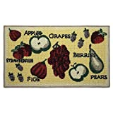 Structures Textured Loop 18 x 30 in. Oblong Kitchen Accent Rug, Tossed Fruits, Yellow/Beige/Red/Green