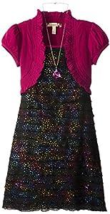 Speechless Big Girls' Rainbow Glitter Ruffle Dress with Shrug, Black/Berry, 8