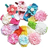 """QS® Baby Girl 14"""" Headbands with Colorful Chiffon Flower Petal (Pack of 10)"""