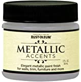 Rust-Oleum Metallic Accents 255338 Decorative 2-Ounce Trail Size Water Based One Part Metallic Finish Paint, White Pearl