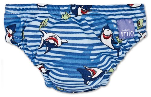 Bambino Mio Swim Nappy Diaper, Blue Shark, X-Large front-474656