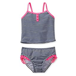 Carter\'s 2 Piece Swimsuit Stripes Navy/pink (24 Months)