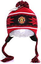 MUFC Manchester United FC Pom Pom Beanie Knit Hat Cap - Football Red [Apparel]