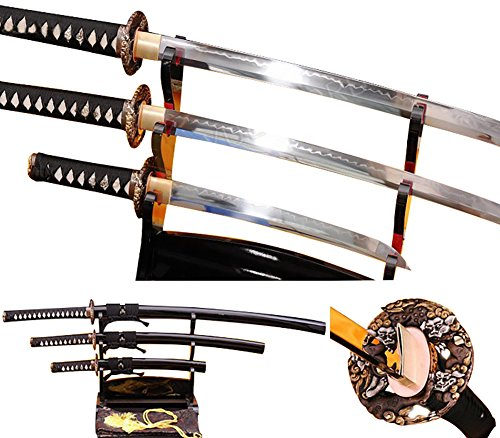 Lyuesword Japanese Katana Set of 3 Hand Forged Katana Wakizashi Tanto Set 3 Piece Full Tang Clay Tempered T-10 High