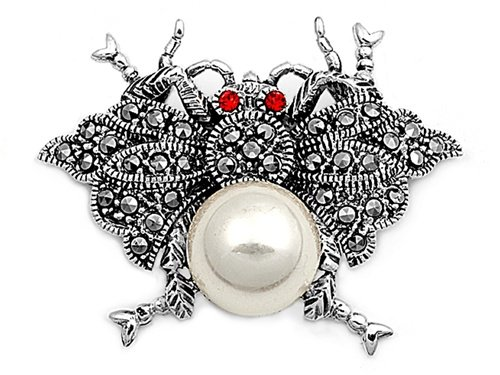 Sterling Silver Brooches Mother of Pearl / Ruby CZ Brooche