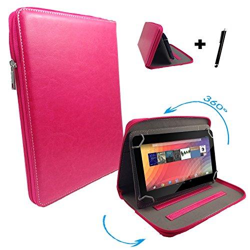 "Huawei MediaPad 10 FHD 3G 25,4 cm / 10.1 "" Tablet Pc Tasche mit 360 grad Drehfunktion - 10 Zoll Pink 360° Reißverschluss"