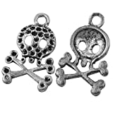 DIY Jewelry Making: 12px Alloy Pendants, Skull, Antique Silver Color, about 23mm long, 14.5mm wide, 3mm thick, hole: 1.5mm