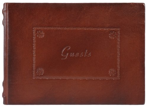 Antique Brown Genuine Italian Leather Guestbook / Journal, Embossed, 8x10&quot;