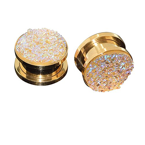 Longbeauty Pair Stainless Steel Sparkling Glitter Flesh Tunnel Ear Expander Screw Plugs Gold Yellow 8MM (Gold Ear Plugs compare prices)