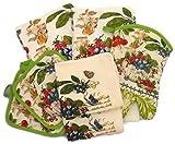 Kitchen Towel Set 7 Piece Towels Pot Holders Oven Mitt & Dishcloth Decorative Design Everyday Use (7 Piece Set, Butterflies & Fruit)