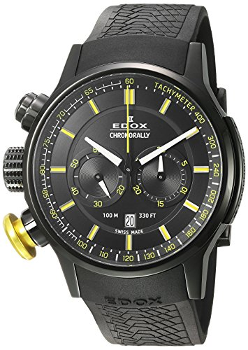 Edox-Mens-Chronorally-Swiss-Quartz-Stainless-Steel-and-Rubber-Sport-Watch-ColorBlack-Model-10302-37NJ-NOJ3