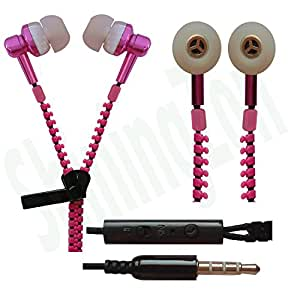 Zipper Design 3.5mm In Ear Earbud Stereo Headset Handsfree Headphone Earphone with Mic For Xiaomi Mi4i - RosePink