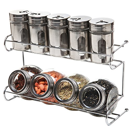 9 Canister Metal & Glass Spice Shakers, Glass Jars, 2 Tier Wire Rack / Storage Organizer - MyGift®