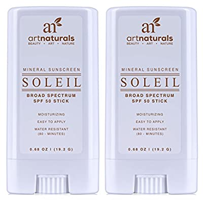 Art Naturals SPF 50 Sunscreen Stick 0.7 oz - Pack of 2 - Water Resistant 80 Minutes - With the best Natural & Organic Ingredients - For all Skin Types - Gentle enough for Children, Kids & Babies
