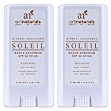 Art Naturals® SPF 50 Sunscreen Stick 0.7 oz - Pack of 2 - Water Resistant 80 Minutes - With the best Natural & Organic Ingredients - For all Skin Types - Gentle enough for Children, Kids & Babies