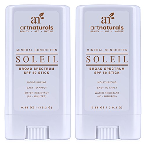 Art Naturals SPF 50 Sunscreen Stick 0.7 oz - Pack of 2 - Water Resistant 80 Minutes - With the best Natural & Organic Ingredients - For all Skin Types - Gentle enough for Children, Kids & Babies (Tanning Stickers Variety Pack compare prices)