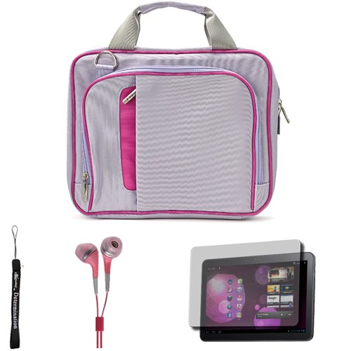 Pink Travel Smart Carrying Case with Optional Adjustable Shoulder Strap For Samsung Galaxy Tab 10.1 inch Android Honeycomb Tablet (Compatible With All Version) + Includes a eBigValue (TM) Determination Hand Strap + Includes a Crystal Clear High Quality HD Noise Filter Ear buds Earphones Headphones ( 3.5mm Jack ) + Includes a Antil Glare Screen Protector