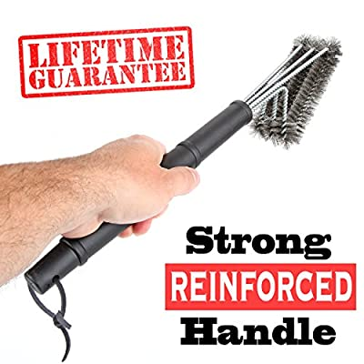 "#1 Ultimate BBQ Grill Brush By Que Heads® Grilling Accessories - 3 Wire Grill Brushes In 1 - LIFETIME REPLACEMENT - 18"" Stainless Steel Barbecue Grill Brush Is Best Grill Cleaner For Weber & Char-Broil Grills"