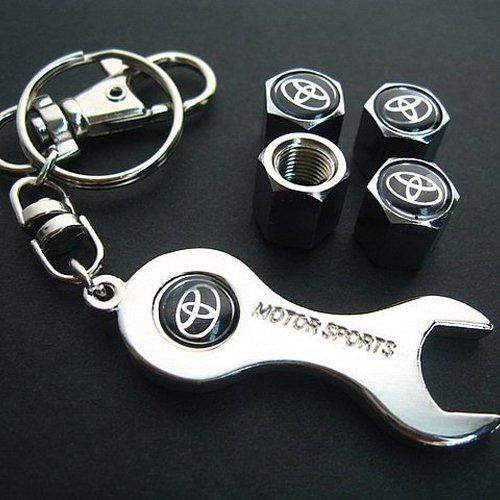 Toyota Tire Valve Caps with Wrench Keychain (Tire Caps Valve Toyota compare prices)