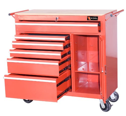 Excel TBR4108X-Red 41-Inch Steel Roller Cabinet, Red