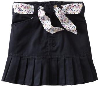 U.S. Polo Association School Uniform Little Girls'  Twill Print Belt Scooter Skirt, Navy, 6X
