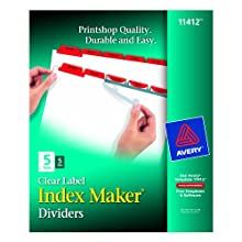 Avery Index Maker Dividers with Red Tabs, 5-Tab, 25 Sets (11412)