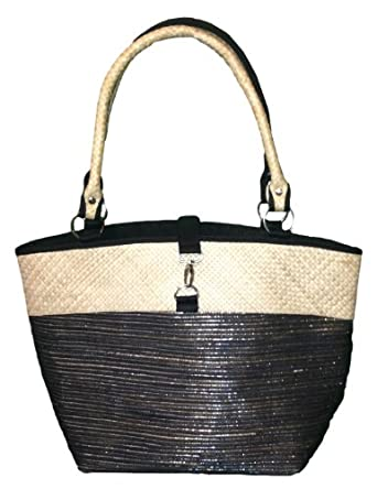 Natural Pandan Grass Straw Bag with Metallic Sparkels From Bamboo 54 (Dark)