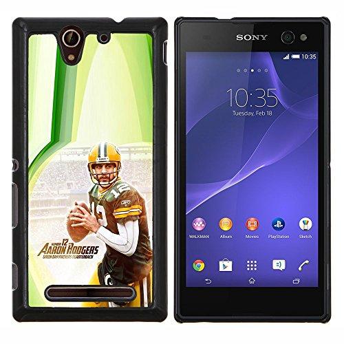 Aaron Rodger 12 NFL - Aluminum Metal & plastica dura Phone caso - nero - Sony Xperia C3 D2533 / C3 Dual D2502