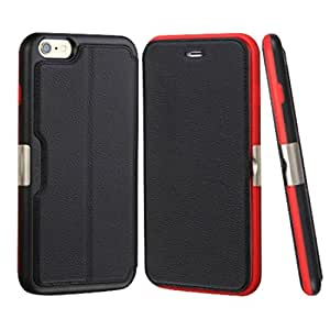 MyBat Wallet Case for iPhone 6s Plus/6 Plus - Retail Packaging - Black/Red