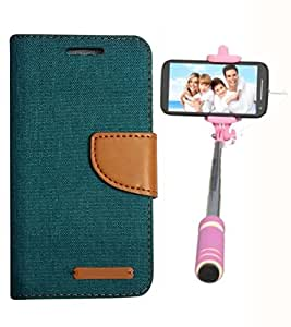 Aart Fancy Wallet Dairy Jeans Flip Case Cover for MotorolaMotoE (Green) + Mini Fashionable Selfie Stick Compatible for all Mobiles Phones By Aart Store