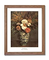 Paul Cezanne Dahlias Flowers Floral Contemporary Home Decor Wall Picture Oak Framed Art Print