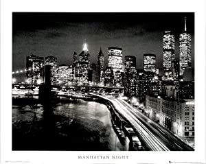 "Manhattan Night New York City Art Poster Print, 16"" X 20"""
