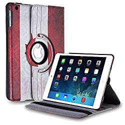 TNP iPad Mini Rotating Case (CA Flag) 360 Degree Stand Smart Cover Flip Protective PU Leather For iPad Mini 3, iPad Mini 2 & 1, Multi Viewing Angles, Auto Sleep & Wake Feature & Stylus Holder