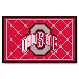 FANMATS NCAA Ohio State University Buckeyes Nylon Face 4X6 Plush Rug by Fanmats