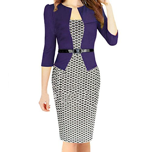 HCMY Women Seven Sleeves O-neck Professional Dress Pencil Skirt Cotton Purple Seven sleeves M