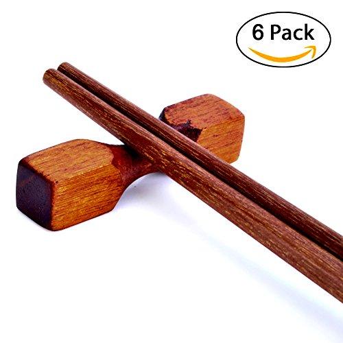 Tea Tanlent Handcrafted Wooden Chopsticks Rest or Dinner Spoon Stand Fork and Knife Holder Home Decor Set of 6,Dumbbell Shape