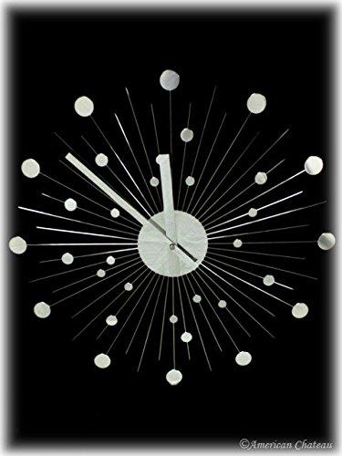 Contemporary Silver Modern Mirror Retro Metal Sunburst 60'S Starburst Wall Clock