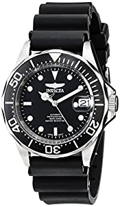 Invicta Men's Pro Diver Automatic Analogue Watch 9110 with Black Dial, Black Bezel and Black Rubber Strap