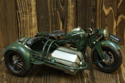 レトロなブリキのおもちゃ 【オートバイ クラシックBMWタイプ サイドカー アーミーグリーン】
