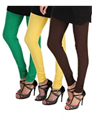 ITNOL Cotton Lycra Leggings (Pack Of 3 ): Parrot Green / Yellow / Chocolate Brown