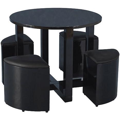 Charisma rund Hochglanz schwarz Stowaway Esstisch mit 4PVC-Stuhlen
