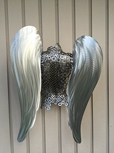 Metal Angel Torso Metal Wall Art Sculpture Garden Home decor Silver Black by Holly Lentz
