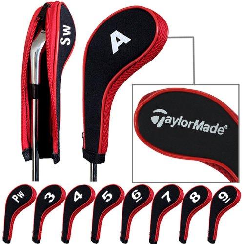 taylormade-capuchon-de-golf-avez-nuque-long-zippe-10pcs-noir-rouge-mt-tl03