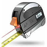 Laser Tape Measure 2-in-1, 98FT/30M Laser Measure, Quality LCD Digital Display, 16FT/5M Measuring Tape, Both Metric and Inch Scale Available- Handy Laser Measurement Tape (Color: Black, Tamaño: Full Size)