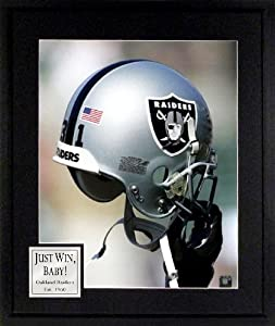 Oakland Raiders Raaaaaiders 16x20 Photograph with Just Win, Baby! Plate Framed by Sports Gallery Authenticated