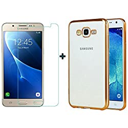 ACCESSORY COMBO (SAMSUNG GALAXYJ7-6/ J7 2016 NEW EDITION) ELECTROPLATED TRANSPARENT GOLD BACK COVER AND ULTRA CLEAR TEMPERED GLASS