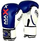 Maxx Blue/White boxing gloves Junior kids & adult sizes Rex leather 4oz - 16oz